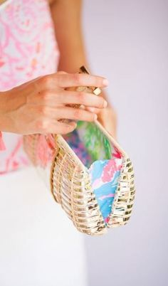 Lilly Pulitzer Bask In Wicker Clutch