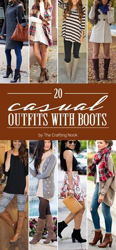 Awesome 20 Casual Outfits with Boots Cute Spring Outfits, Fall Winter Outfits, Autumn Winter Fashion, Cute Outfits, Outfits With Boots, Casual Dresses, Casual Outfits, Fashion Outfits, Womens Fashion