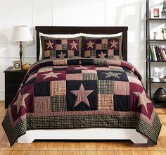 Plum Creek Patchwork Quilt Set by Olivias Heartland Black Star King 3-Piece #OliviasHeartland #RusticPrimitive