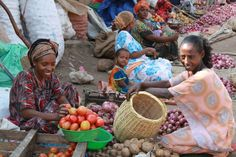 The local market in Dire Dawa where many of the children work every day selling vegetables, fruit, and animals.