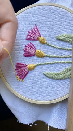 Visit my Etsy page for custom hoops and embroidery patterns! Hand Embroidery Patterns Flowers, Basic Embroidery Stitches, Hand Embroidery Videos, Hand Embroidery Tutorial, Embroidery Sampler, Creative Embroidery, Hand Embroidery Designs, Embroidery With Beads, French Knot Embroidery