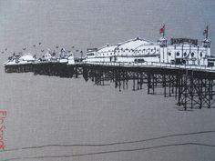 Silk-screen and hand stitching on grey linen. By Flo Snook Brighton, Hand Stitching, Louvre, Sketch, Design Inspiration, Shades, Silk, Grey, Pictures