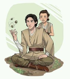 Here's one for Throwback Thursday showcasing Ben Solo and a very young Rey. Artwork by Milady666
