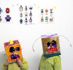 #cabezudos con cajas #upcycling #robots