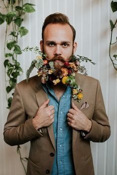 Groom with Floral Beards