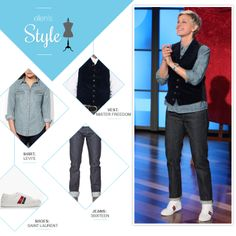 Ellen's Look of the Day: chambray button up, vest, jeans and sneakers. Makeup @hcurriebeauty