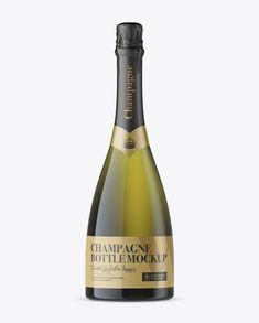 Dead Leaf Green Champagne Bottle Mockup - Front View (Preview)