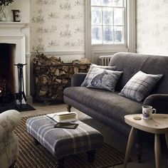 MODERN COUNTRY We're not suggesting this room is uber modern - there are elements of traditional country style, from the toile de jouy wallpaper to the classic furniture and heritage fabrics - but the colour scheme and uncomplicated approach give it a con