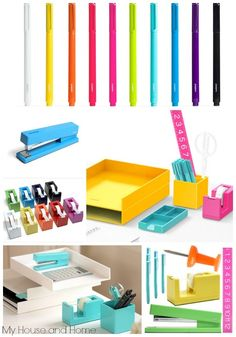 Talk about a pick-me-up at work! Desk Ideas, Office Ideas, Office Decor, Organized Desk, Getting Organized, Colorful Desk, Cubicle Ideas, Dream Desk, Craft Station