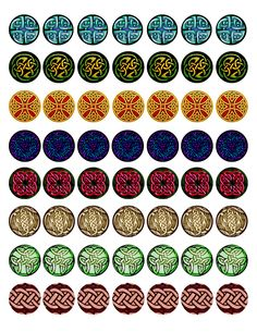 "FREE Bottle cap images - Celtic Knot-work Full-sheet collection #2, high resolution formatted for printing on 8.5"" x 11"" page"