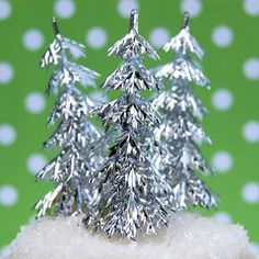 Silver Tree Picks- cupcake toppers