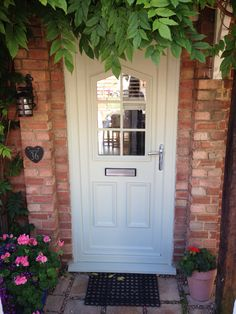White upvc front door painted in authentico outdoor paint surrey barn paint+ dream furniture catalogue Painted Upvc Door, Painted Front Doors, Dream Furniture, Door Furniture, Painted Furniture, Dream House Interior, Dream Home Design, Bedroom Built Ins, Outdoor Paint