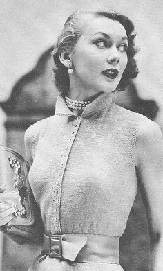 Vintage knitting pattern: 1950s cardigan with belt