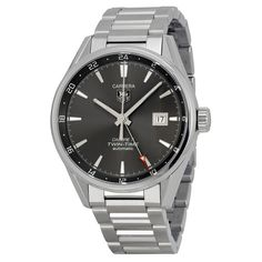 Tag Heuer Carrera Twin Time Calibre 7 Anthracite Dial Stainless Steel Men's Watch WAR2012.BA0723 - Carrera - Tag Heuer - Shop Watches by Brand - Jomashop