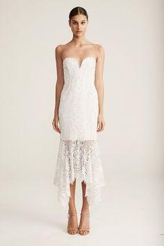 Shona Joy Lace Bustier Handkerchief Midi Dress IVORY