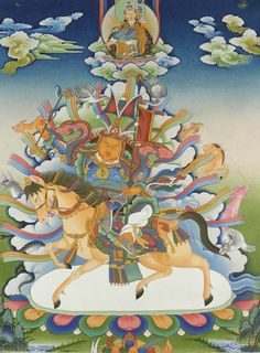 Legend of King Gesar of Ling (an emanation of Guru Rinpoche) Tibetan Tattoo, Tibetan Art, Buddhist Teachings, Buddhist Art, Vajrayana Buddhism, Thangka Painting, Green Tara, Action Painting, Taoism