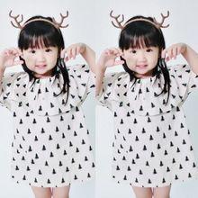 2016 Summer Ins Hot sale Children Girls Christmas Tree Printing Dresses Ruffles Princess Dresses Cute Baby girl Clothing(China (Mainland))