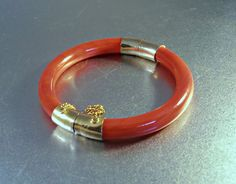 Chinese Red Jade Bangle Bracelet Hinged Gold by LynnHislopJewels