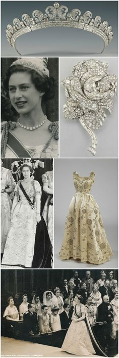 "For the 1953 coronation, H.R.H. Princess Margaret donned a white satin Norman Hartnell dress with an openwork design of broderie anglaise. According to the Royal Collection, the dress was embroidered in crystal with a design of stylized marguerites and roses, in reference to her name Margaret Rose. The sleeves were later removed, so that the dress could be used for other events. She also wore the ""Halo Scroll"" Tiara and Diamond Rose Brooch (made by Cartier in 1936 and 1938, respectively)."