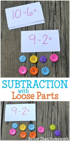 Use math manipulatives to help understand subtraction and practice subtraction facts with these simple subtraction with loose parts activities. Subtraction Activities, Eyfs Activities, Math Activities For Kids, Math Manipulatives, Preschool Math, Math For Kids, Fun Math, Math Subtraction, Activities For Autistic Children
