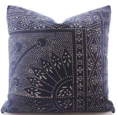 Chinese Indigo Batik Pillow Cover Vintage Textile by Boho Pillow