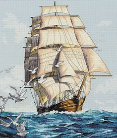 Cross Stitch Kit Dimensions Clipper Ship Voyage Sailing The Ocean 3886 Counted Cross Stitch Patterns, Cross Stitch Designs, Cross Stitch Embroidery, Dimensions Cross Stitch, Cross Stitch Landscape, Cross Stitching, Sailing, Crossstitch, Needlework