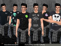 A set of 6 out of the world space themed t-shirts for your male sims. Found in TSR Category 'Sims 4 Male Everyday'