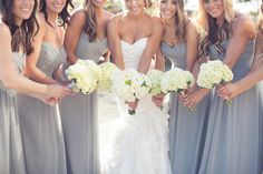 Bridesmaid dresses Jasmine, style B2078, poly chiffon in Platinum. Love this bridesmaid colour