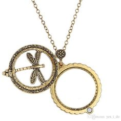Fashion Magnifier Glass Dragonfly Insect Pendant Necklace Antique Bronze Jewelry With Closes And Open Vintage Women Link Chain