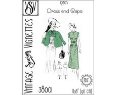 1930's Dress and Cape B38 PDF sewing pattern VSV | Etsy