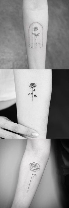 Simple Rose Arm Tattoo Ideas at MyBodiArt.com - Black and White Floral Flower Bicep Wrist Tatt Design