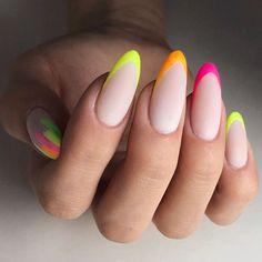 18 Beautiful Ideas For French Nails: Fresh Look At A Classical Nail Design – Long Nails – Long Nail Art Designs French Nail Designs, Acrylic Nail Designs, Nail Art Designs, Nails Design, Acrylic Nails, Neon Nails, My Nails, Rainbow Nails, Nagel Tattoo