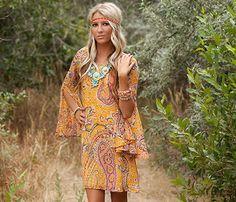 Hippie Chic! Mustard Paisley Belle Sleeved Dress