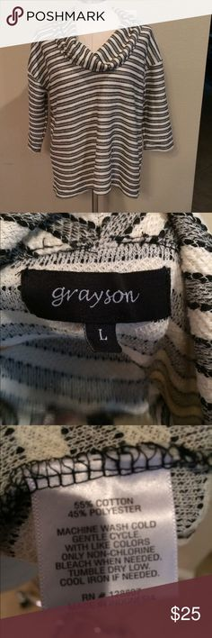 Grayson striped sweater Grayson size large black and white striped sweater with cowl neck and 3/4 length sleeve. Grayson Sweaters