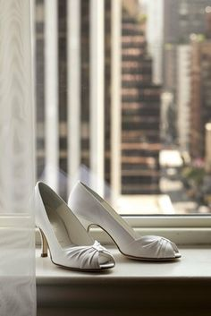 white peep-toe heels | Photography: Images by Berit, Inc.