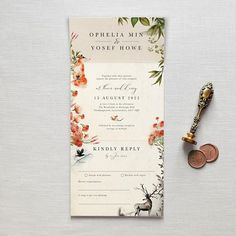 All-in-one wedding invitation. No envelope required - simply fold, seal with the included clear sticker and post. Includes a perforated RSVP postcard for your guests to mail straight back to you - leaving no excuses for a late reply! This magical wedding invitation is inspired by