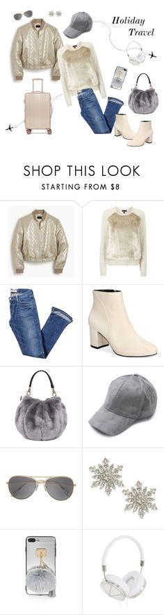 """Holiday Travel Attire"" by cmrno ❤ liked on Polyvore featuring J.Crew, Topshop, Elizabeth and James, INC International Concepts, Design Lab, Frends and CalPak"