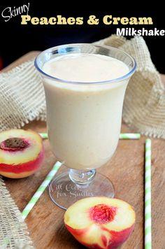 Skinny-Peaches-and-Cream-Milkshake willcookforsmiles.com. Ingredients: whie peach, vanilla frozen yogurt, peach sorbet, skim milk