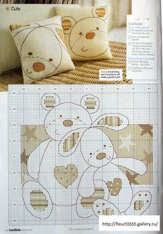 Gallery.ru / Фото #133 - для дома 3 - Fleur55555 cross stitch chart free bear bunny