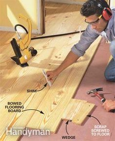 How to Install Pine Floors Complete instructions for DIY installation of easy-care wide-plank pine flooring Pine Wood Flooring, Diy Wood Floors, Heart Pine Flooring, Wide Plank Flooring, Pine Floors, Diy Flooring, Wood Planks, Hardwood Floors, Flooring Ideas