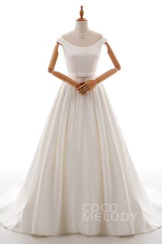 A-Line Court Train Satin Wedding Dress LD4837