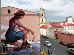 "By Fintan Magee – New mural: ""The Messenger"" – for MOST Festival – Moscow, Russia – september 2014"