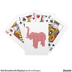 Red Houndstooth Elephant Card Decks