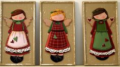 tres niñas Tole Decorative Paintings, Tole Painting, Painting On Wood, Pintura Country, Meninos Country, Wooden Angel, 3d Craft, How To Make Toys, Country Paintings