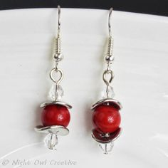 Red Magnesite Earrings - Gemstone Earrings - Silver Saucer Spacers - Rustic Modern Styling - Silver Plate Earwires - Beads and Crystals by NightOwlCreative on Etsy