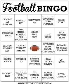 This free football bingo game is a fun and easy way to add even more fun to your football party! Just print the bingo cards out and mark them as you watch the big game! Free Football, Football Tailgate, Football Themes, Football Birthday, Football Parties, Football Season, Football Food, Football Humor, Football Shirts