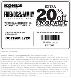 Pinned October 10th: 20% off everything at #Kohls, or online via promo code OCTFAMILY20 #coupon via The Coupons App