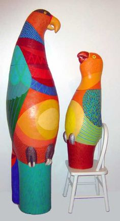 Industrial extrusion terracotta Animal Form: Abstract sculpture by artist Barbara Kobylinska titled: 'Good Parroting Baby and Mother'