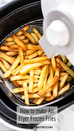 It is really easy to fry frozen French fries in the Air Fryer. These fries are just as crispy as deep fried but without additional fat. In fact you do not need to add any oil to make Air Fryer frozen fries and you have them on the table in no time. Just as good as regular. Want to try? Visit fastfoodbistro.com for the full recipe and instructions. Best Side Dishes, Main Dishes, French Frie Seasoning, Air Fryer Recipes Easy, French Fries, Cooking Time, Bae, Frozen, Easy Meals