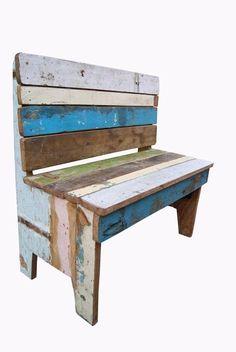 Banco infantil en madera reciclada de teca. Decoración Low Cost Chicandclic.es